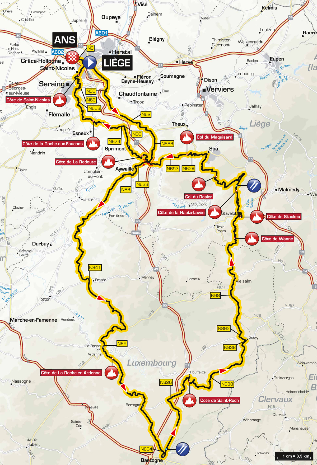 Karte Lüttich-Bastogne-Lüttich 2015