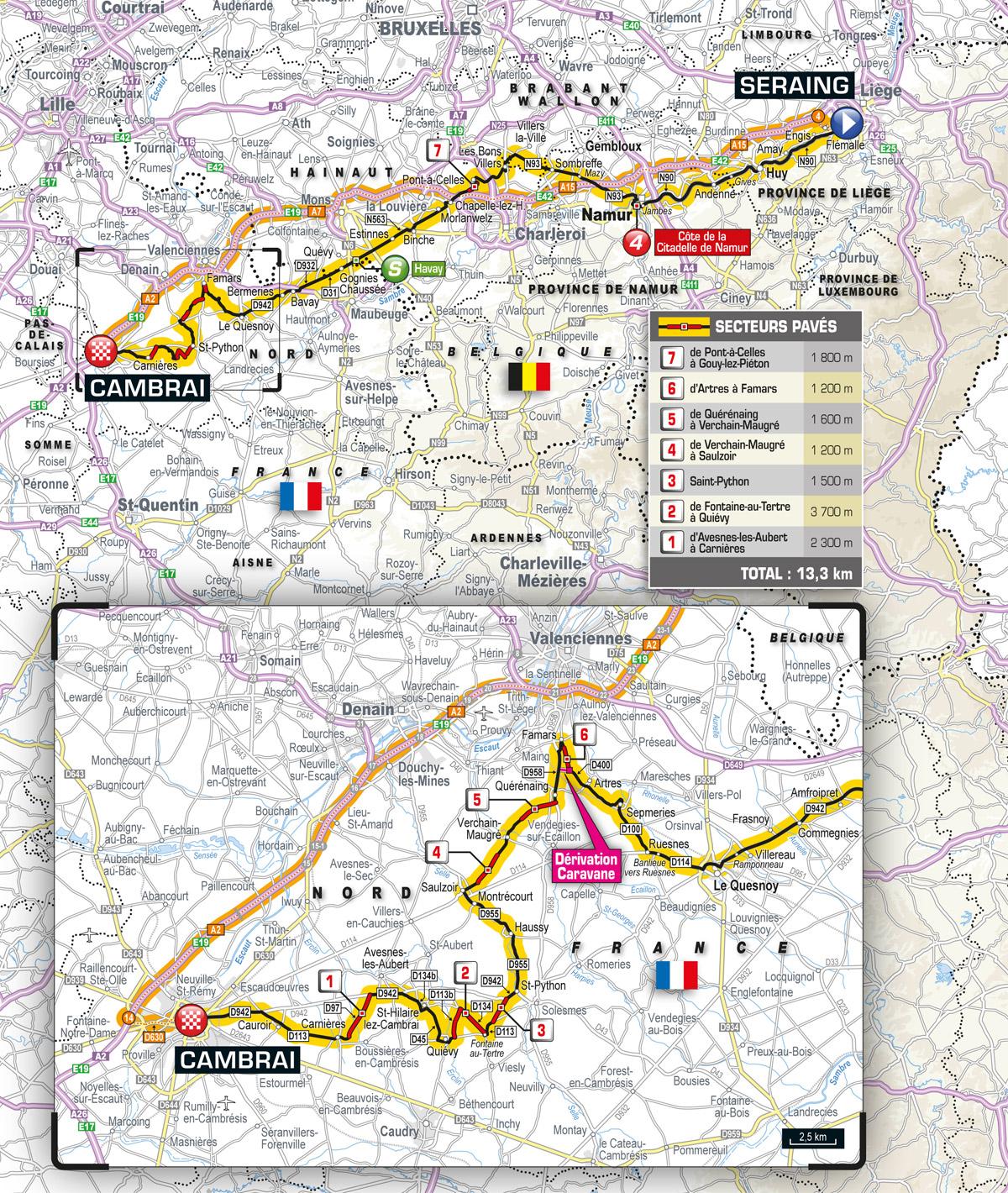 Karte der 4. Etappe der Tour de France 2015