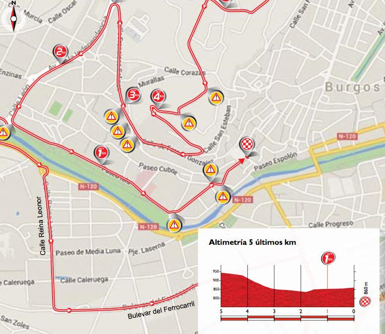 Karte der letzten 5 Kilometer