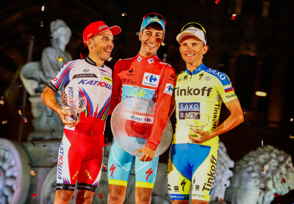 Das Podium der 70. Vuelta – Rodriguez, Aru & Majka (vlnr) (Foto: Roth&Roth roth-foto.de)