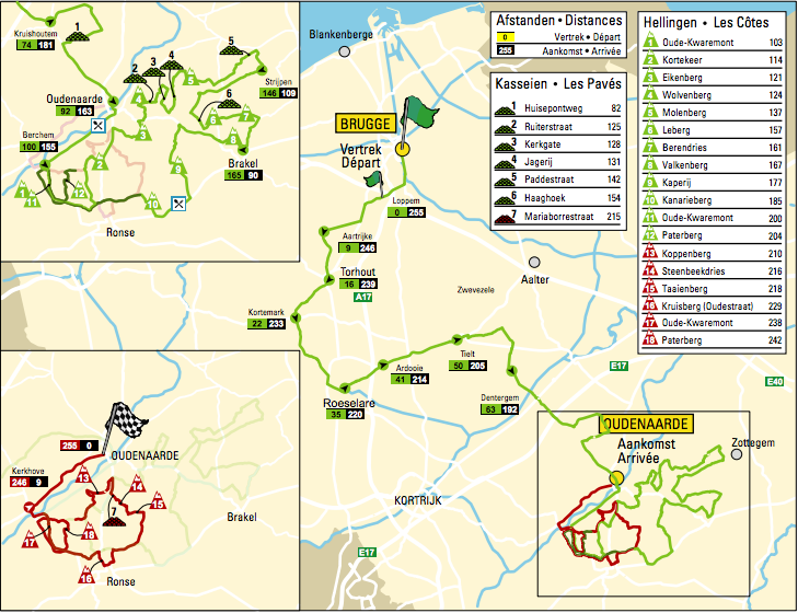 Karte der Ronde van Vlaanderen 2016