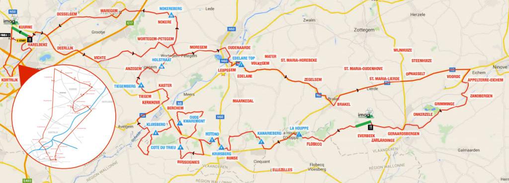 Karte: Strecke Kuurne-Brüssel-Küürne 2016
