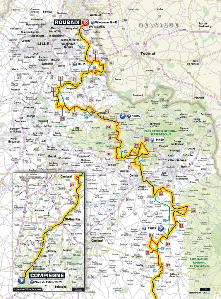 Karte: Die Strecke von Paris-Rouabix 2016