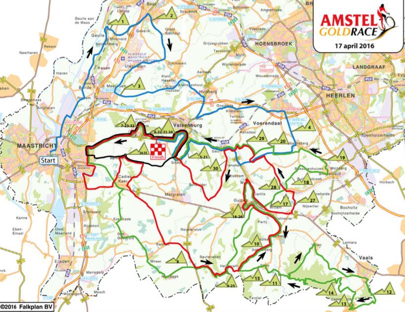 Karte des Amstel Gold Race 2016