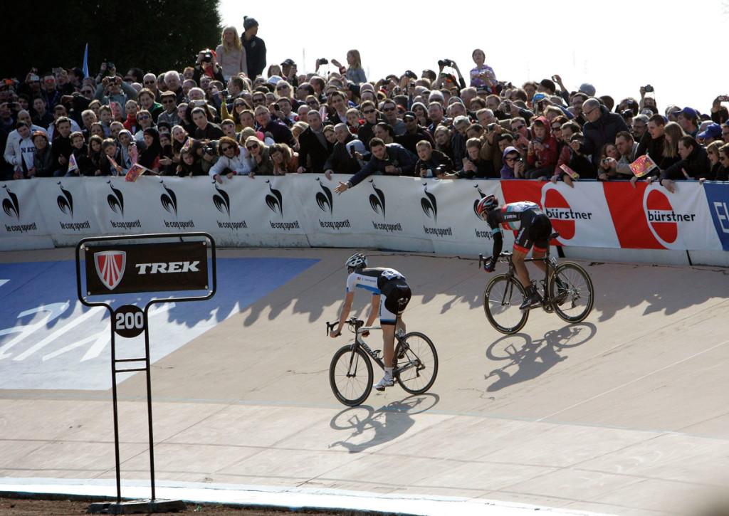 Fabian Cancellara & Sep Vanmacrek im Velodrome (Foto: Roth&Roth roth-foto.de)