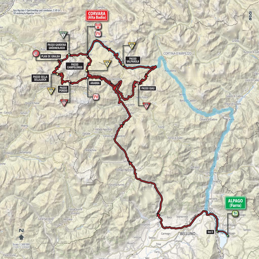 Karte der 14. Etappe des Giro 2016