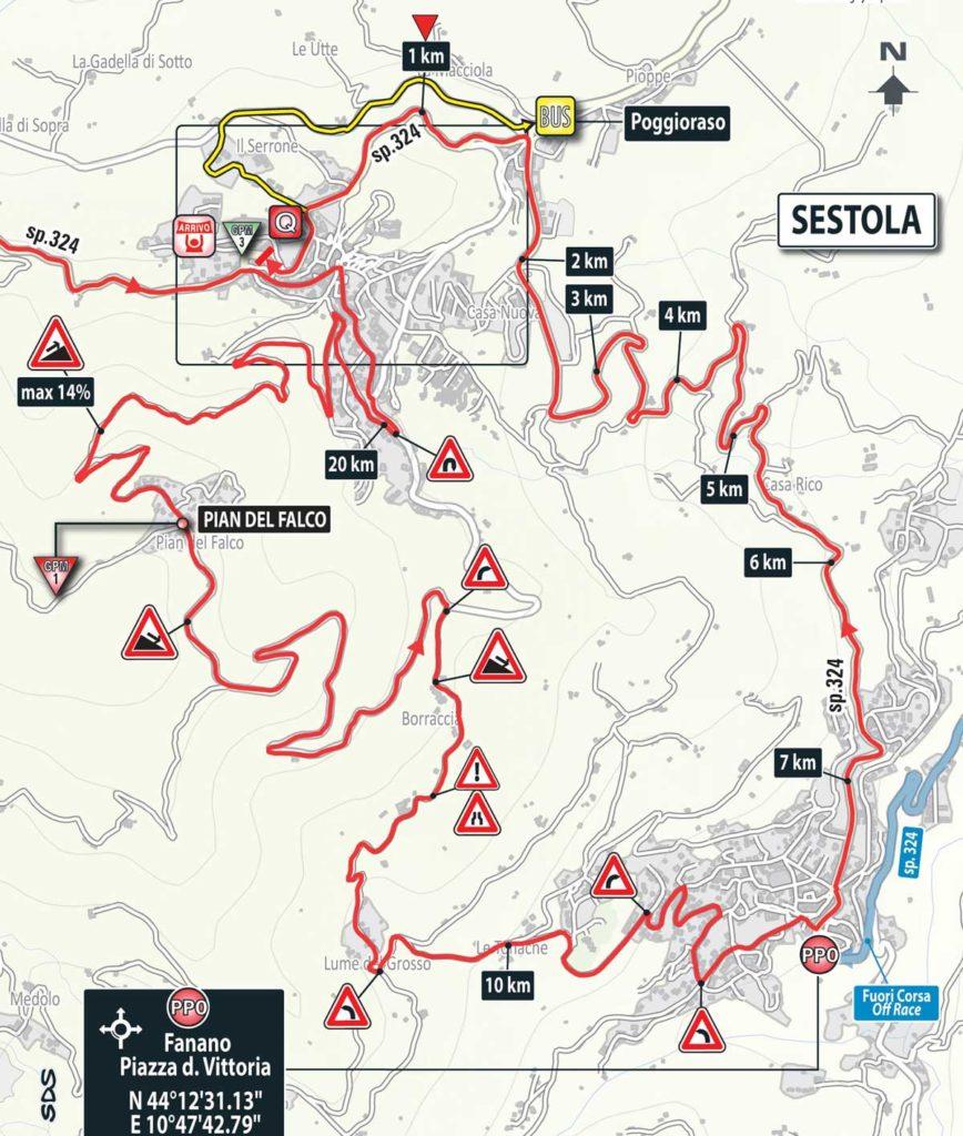 Karte der letzten 25 Kilometer der 10. Etappe des Giro 2016