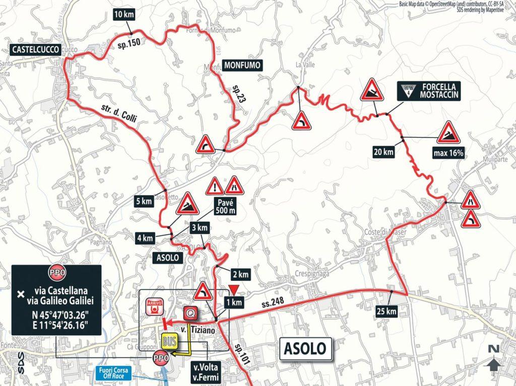Karte des Finales der 11. Etappe des Giro 2016