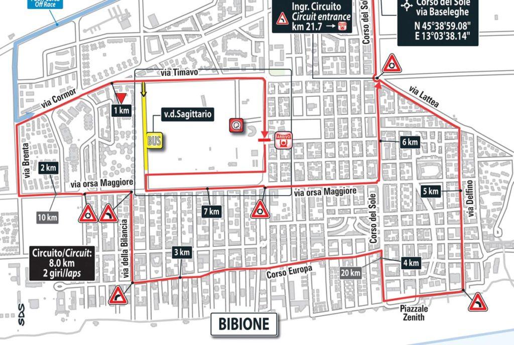 Karte der Schlussrunden der 12. Etappe des Giro 2016