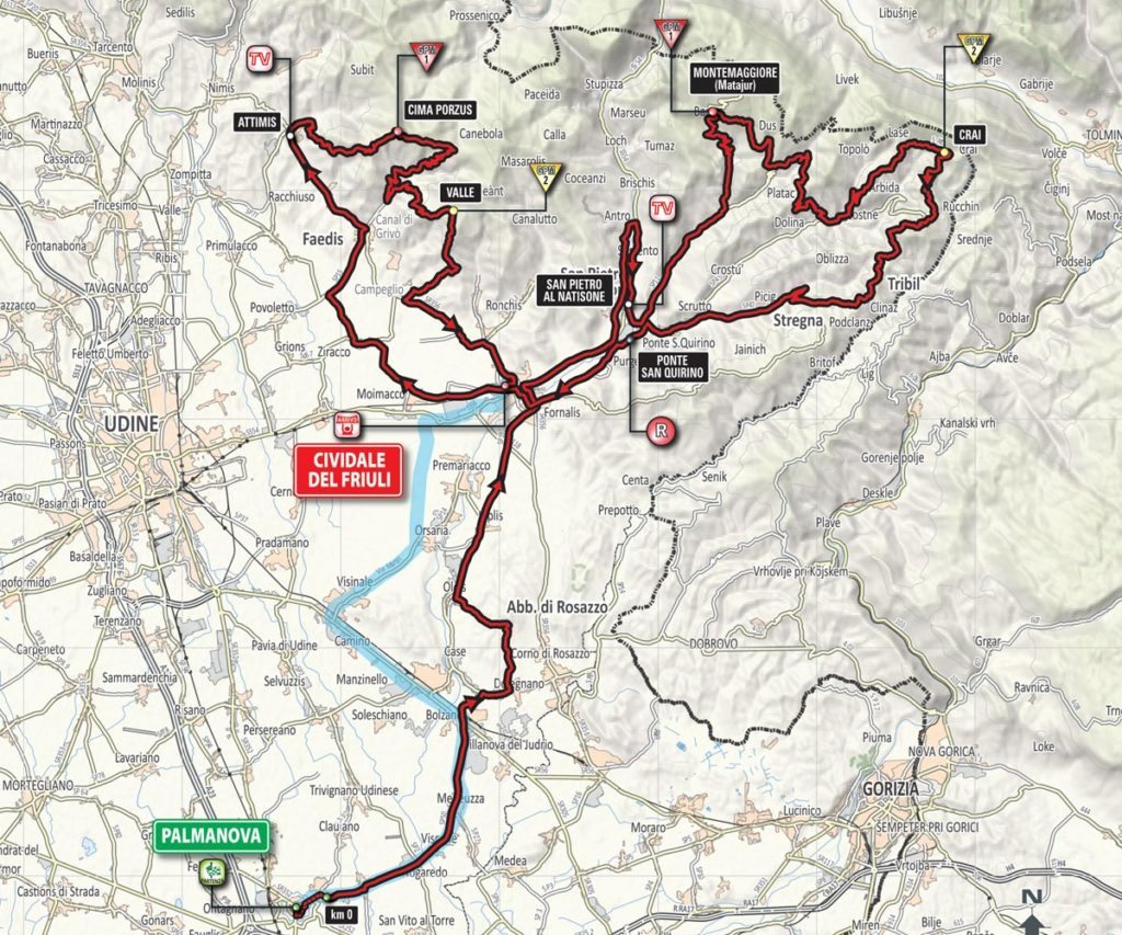 Die Karte der 13. Etappe des Giro 2016