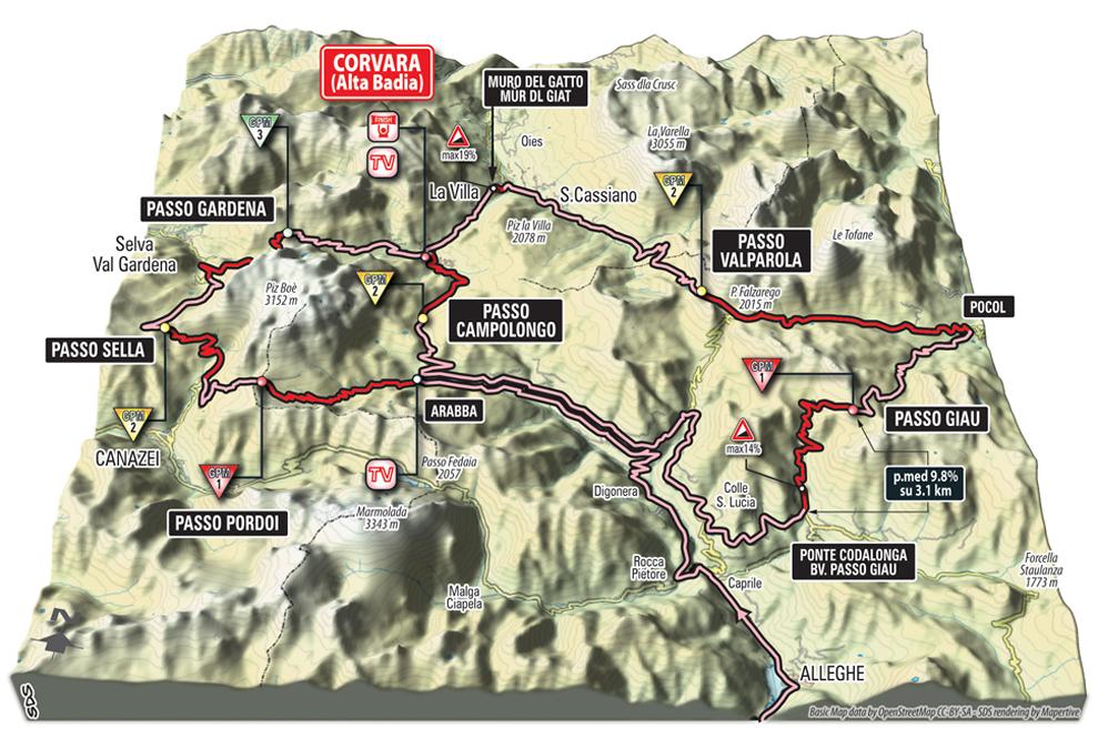 Die 3D-Karte der Anstiege der 14. Etappe des Giro 2016