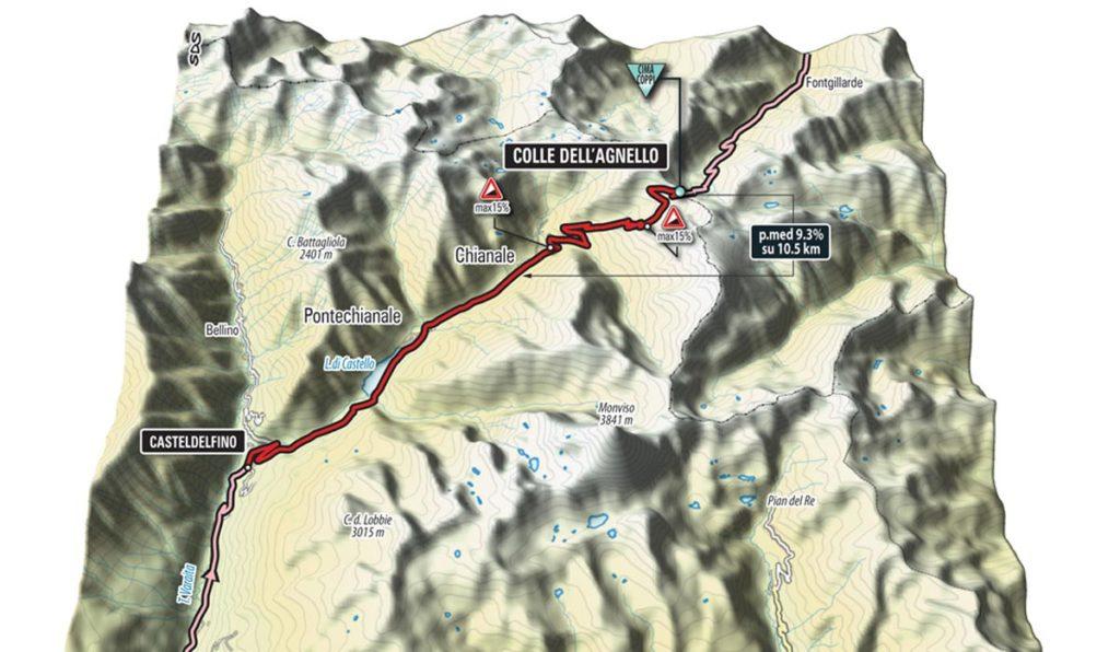 3D-Bild des Anstiegs zum Colle Dell Agnello