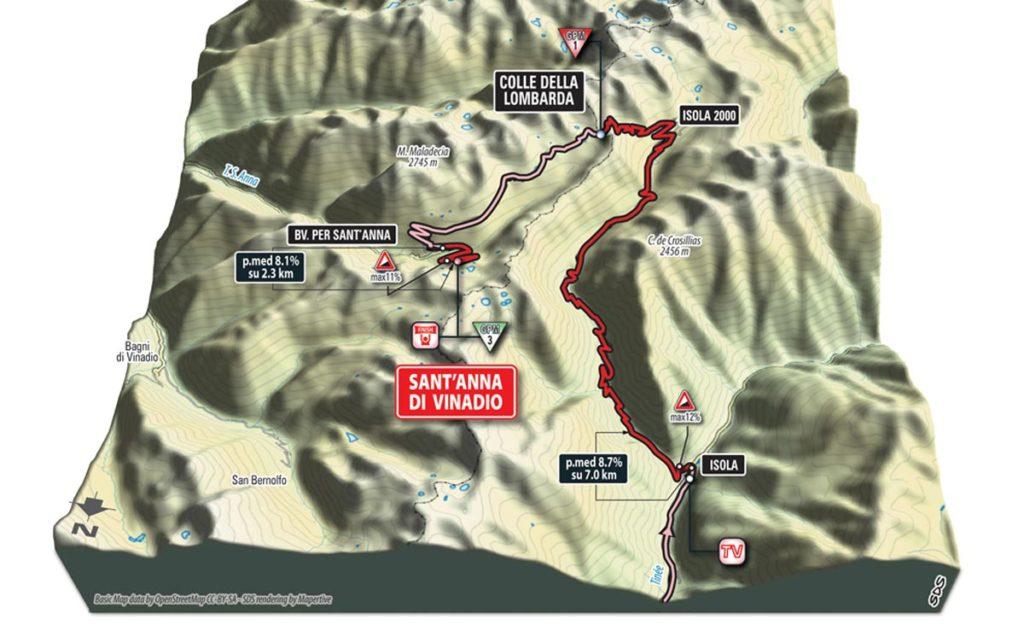 3D-Karte Finale der 20. Etappe des Giro 2016