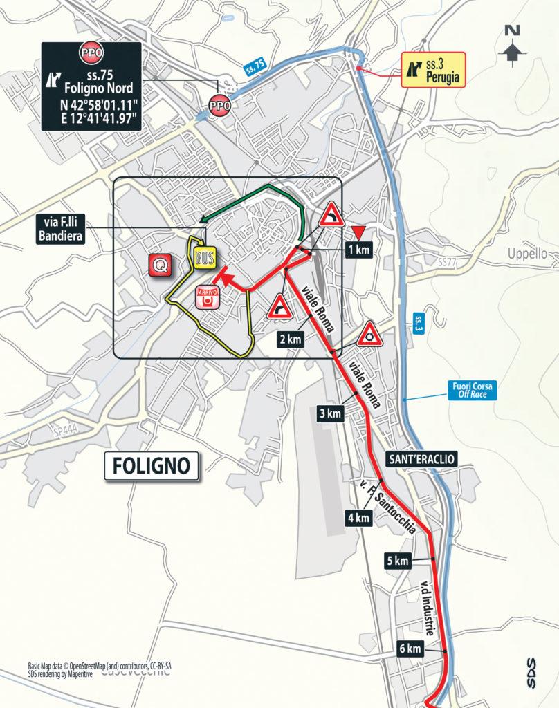 7. Etappe des Giro 2016: Karte der Zielankunft