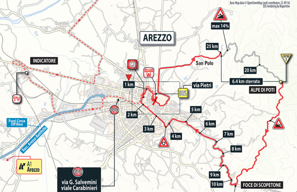 Karte der Finalerunde der 8. Etappe des Giro 2016