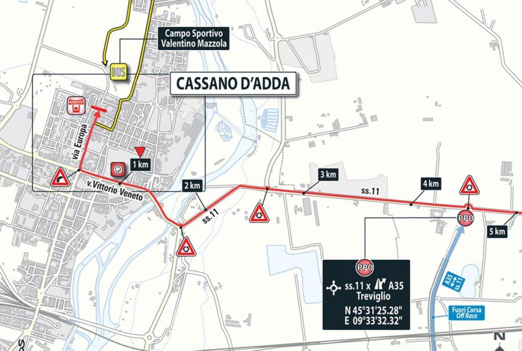 Die Anfahrt zum Ziel der 17. Etappe des Giro 2016