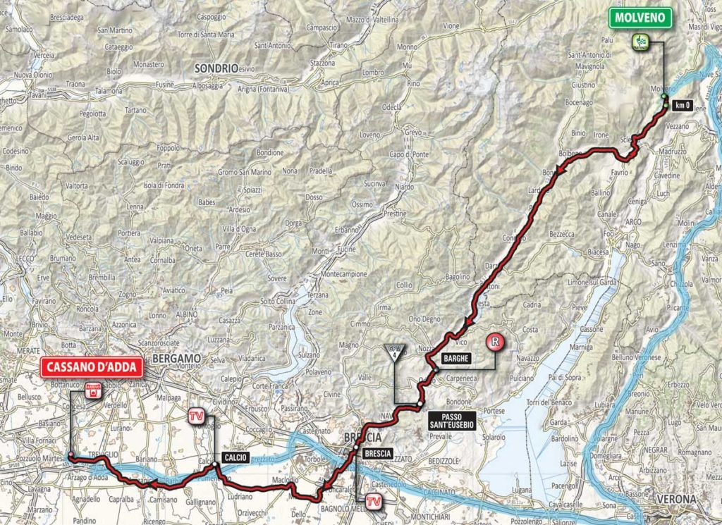 Karte der 17. Etappe des Giro 2016