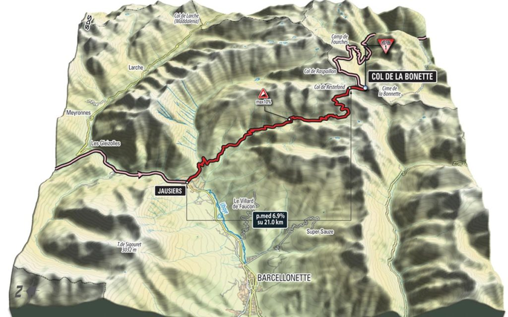 3D Karte des Anstiegs zum Colle della Bonette