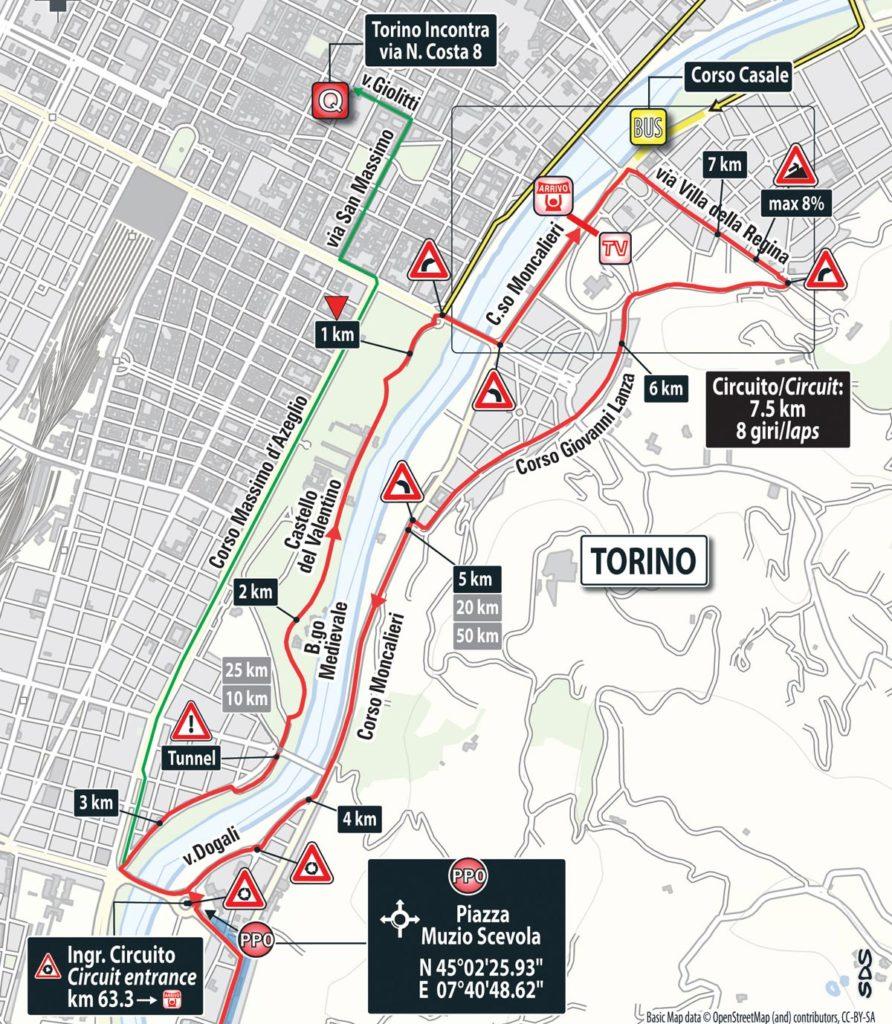 Karte der 8 Schlussrunden der 21. Etappe des Giro 2016
