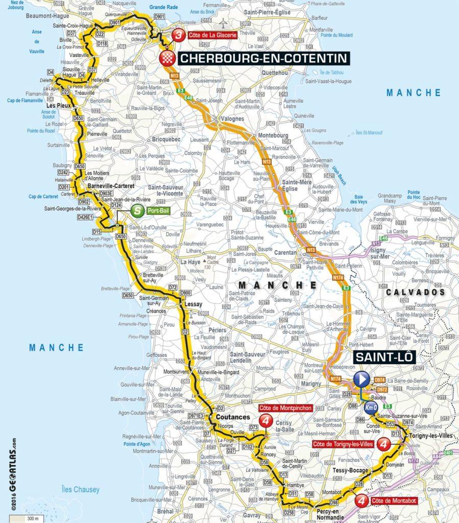 Tour de France 2016 – Karte der 2. Etappe