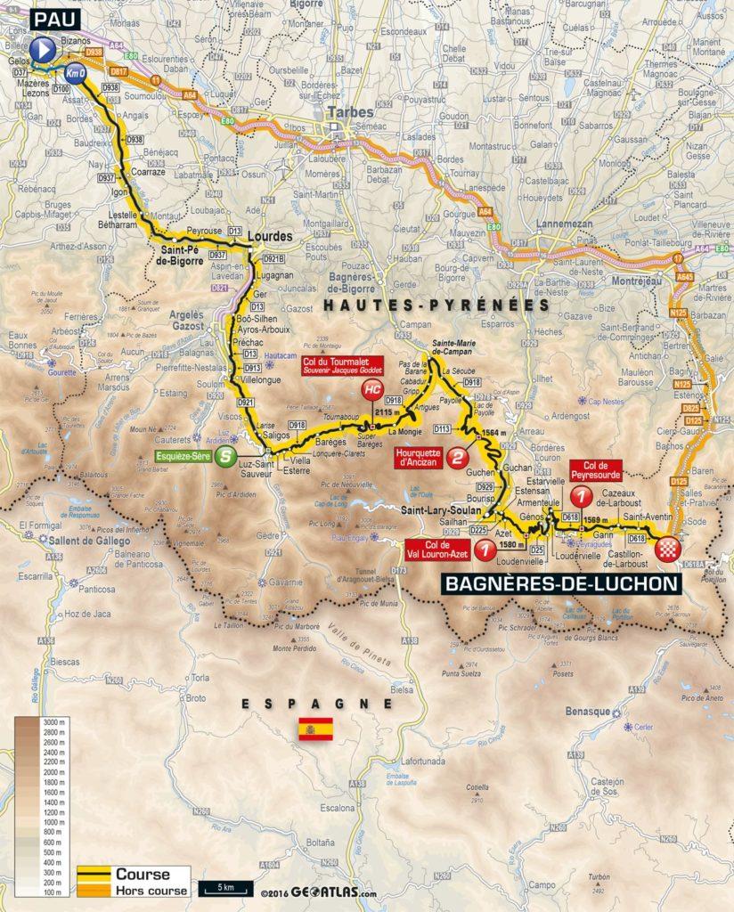 Tour de France 2016 – Karte der 8. Etappe (©GEOATLAS)