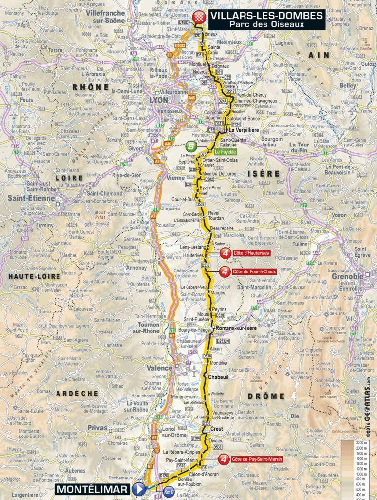 Tour de France 2016 – Karte der 14. Etappe