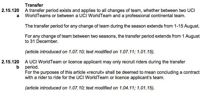 Regel 2.15.120 des UCI-Reglements