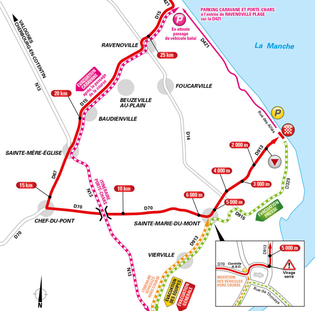 Anfahrt zum Ziel der 1. Etappe der Tour de France 2016