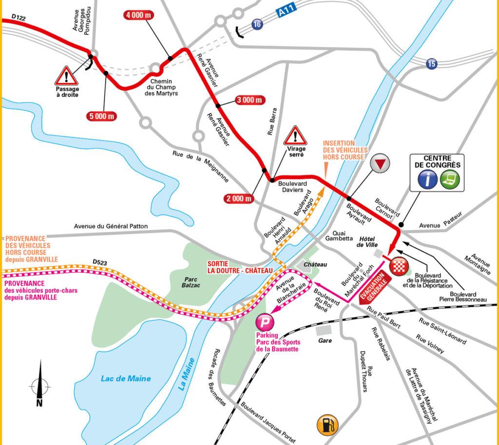 Karte der letzten Kilometer der 3. Etappe der Tour de France 2016