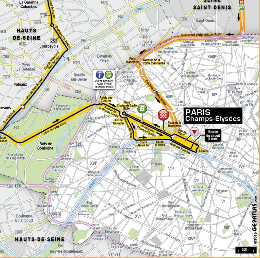 Die Karte der letzten Kilometer der 21. Etappe der Tour de France 2016 (©GEOATLAS)