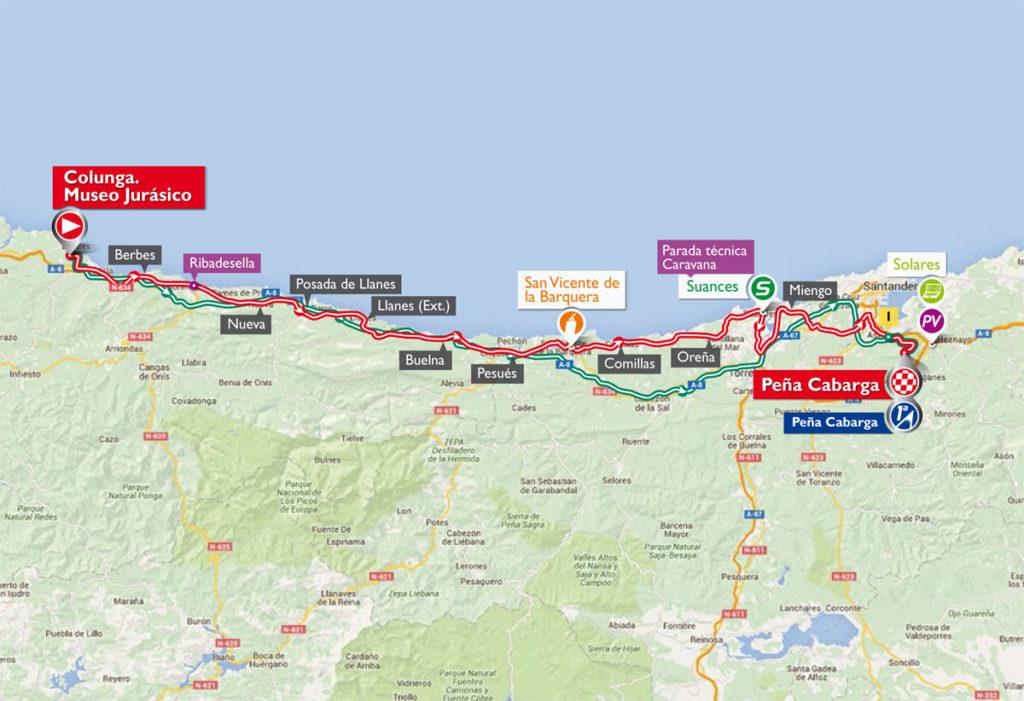 Die Karte der 11. Etappe der Vuelta 2016