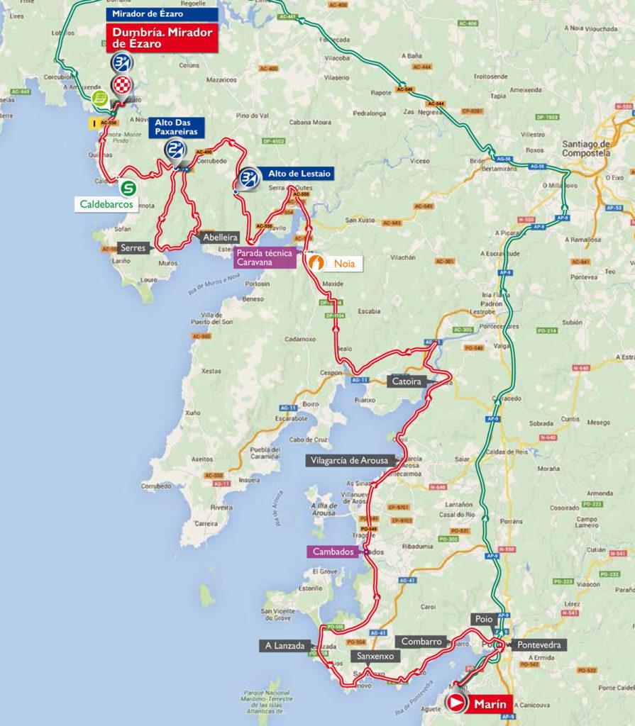 Karte der 3. Etappe der Vuelta 2016
