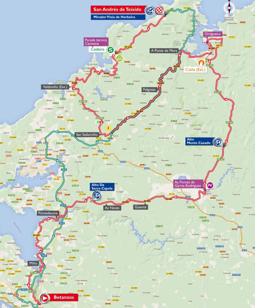 Karte der 4. Etappe der Vuelta 2016