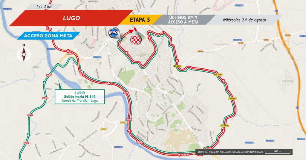 Die letzten Kilometer der 5. Etappe der Vuelta 2016