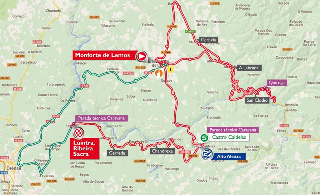 Karte der 6. Etappe der Vuelta 2016