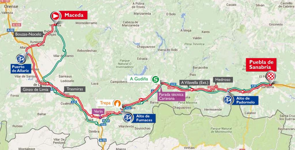 Die Karte der 7. Etappe der Vuelta 2016