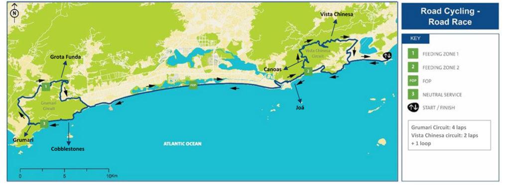 Karte des Parcours des olympischen Straßenrennes