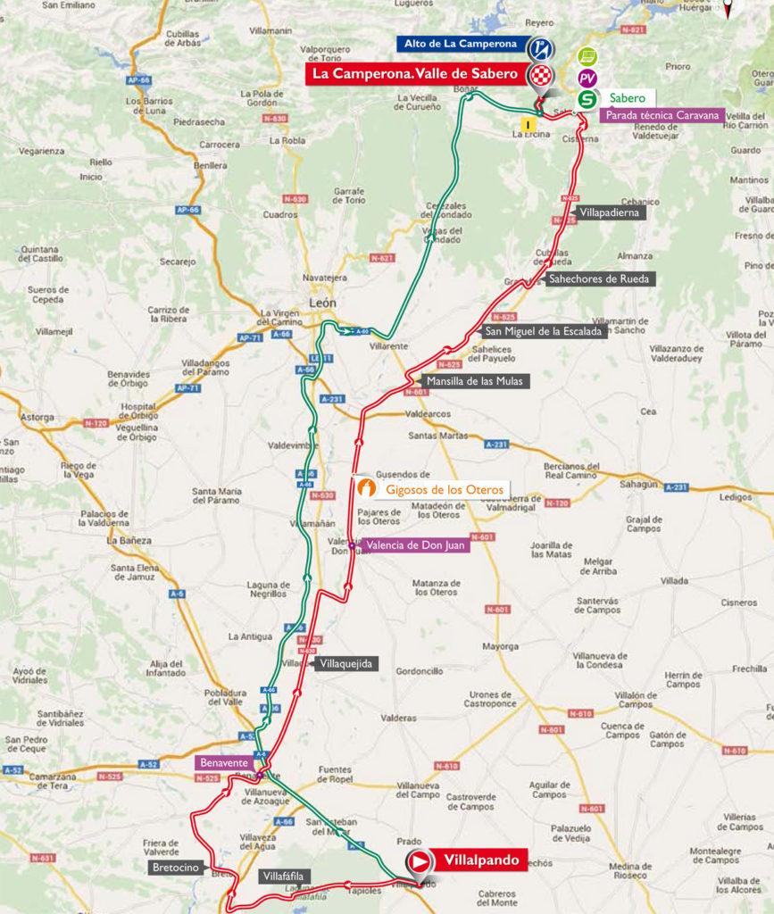 Die Karte der 8. Etappe der Vuelta 2016