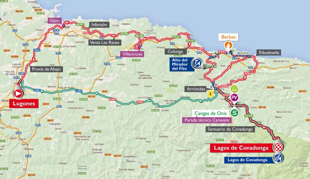 Karte der 10. Etappe der Vuelta 2016