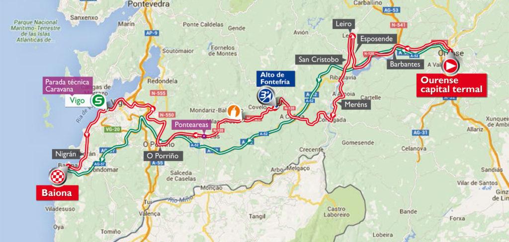Die Karte der 2. Etappe der Vuelta 2016 (©A.S.O.)