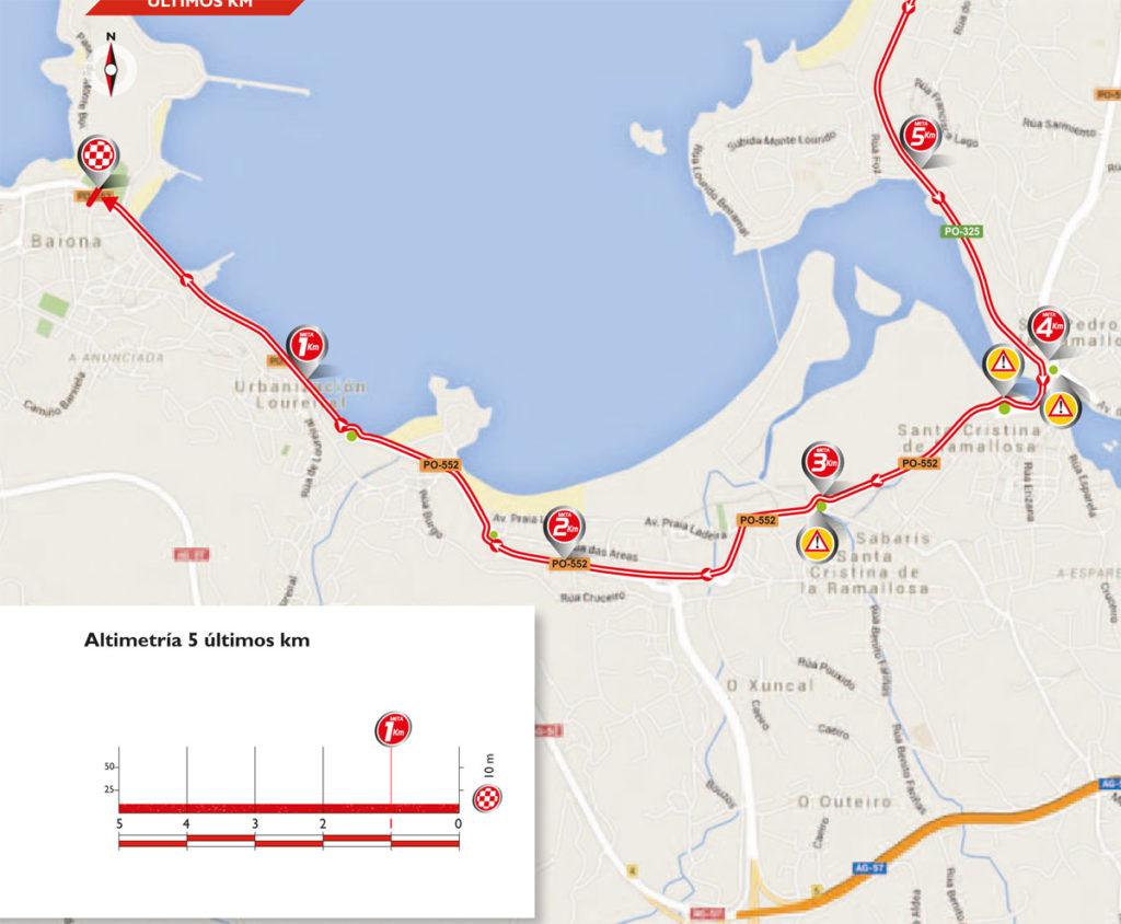 Karte der letzten 5 km der 2. Etappe der Vuelta 2016 (©A.S.O.)