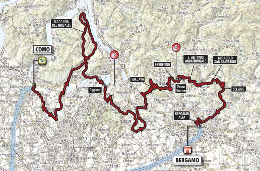 Karte der Lombardei Rundfahrt 2016