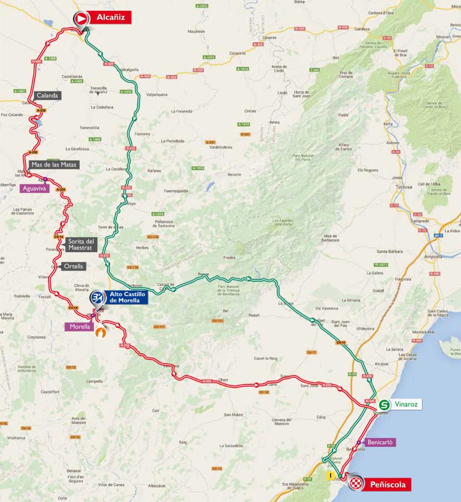 Die Karte der 16. Etappe der Vuelta 2016