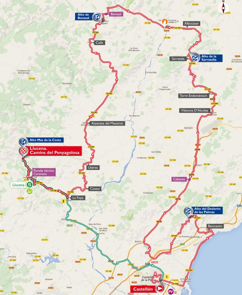 Karte der 17. Etappe der Vuelta 2016