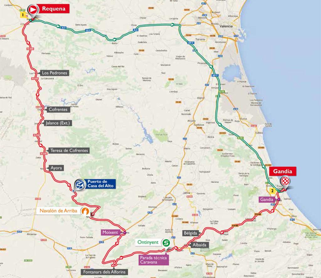 Karte der 18. Etappe der Vuelta 2016