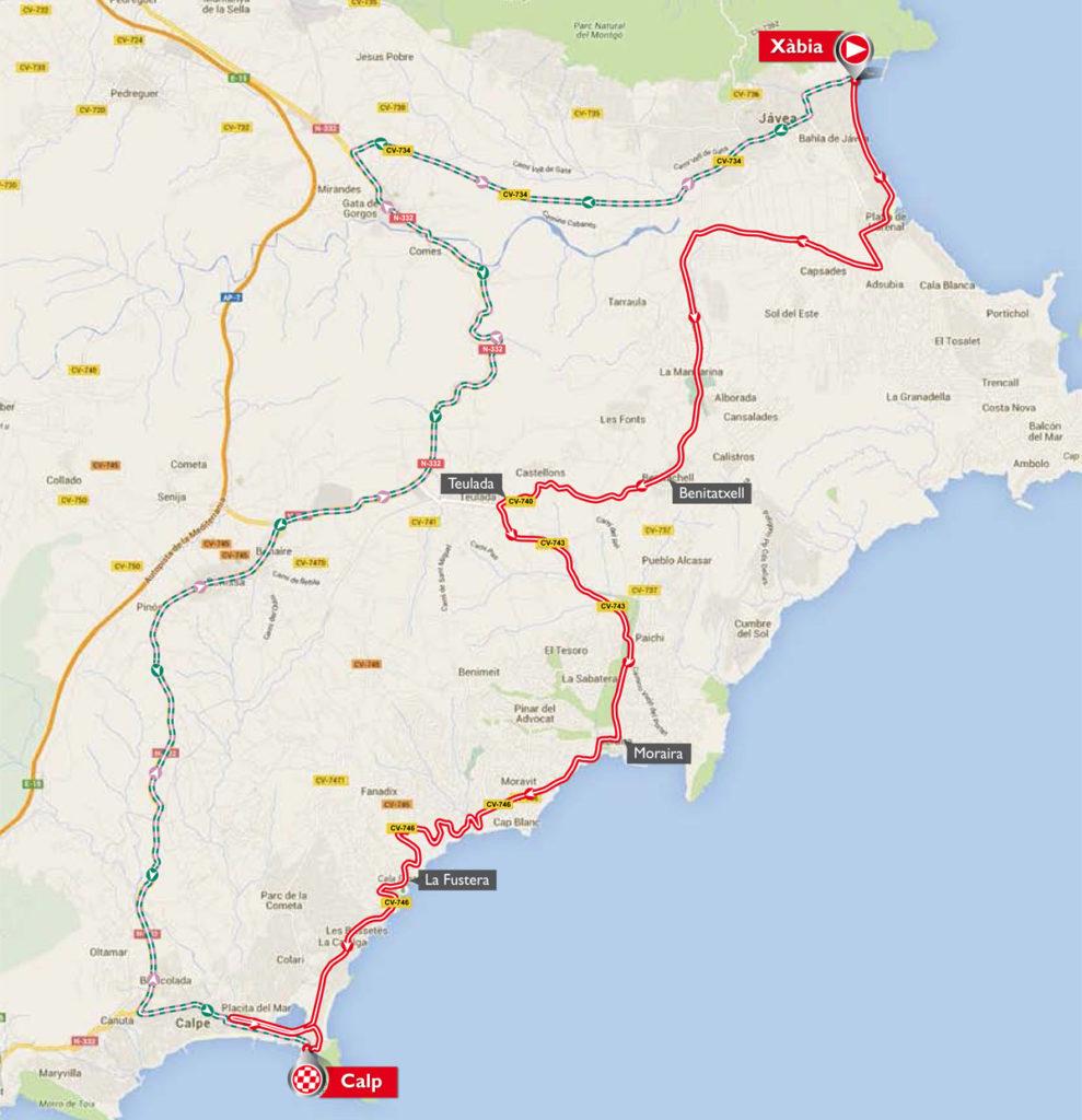 Karte der 19. Etappe der Vuelta 2016