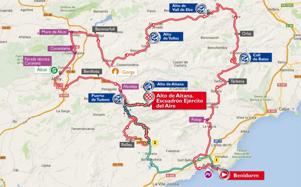 Die Karte der 20. Etappe der Vuelta 2016