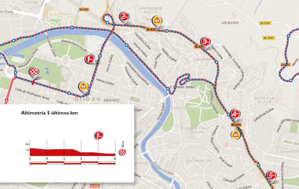 Karte & Profil der letzten Kilometer zum Ziel der 12. Etappe der Vuelta 2016