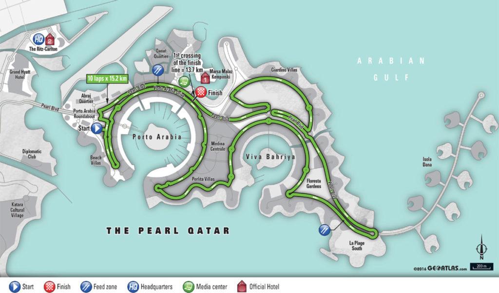 WM 2016: Kurs Straßenrennen U23 in Doha/Katar