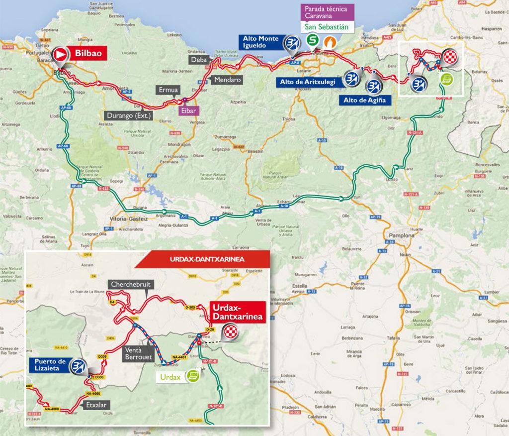 Karte der 13. Etappe der Vuelta 2016